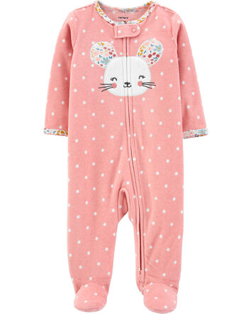 Mouse Zip-Up Fleece Sleep & Play
