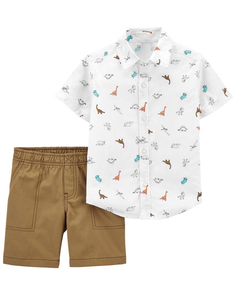 2-Piece Button-Front Shirt & Short Set, , hi-res