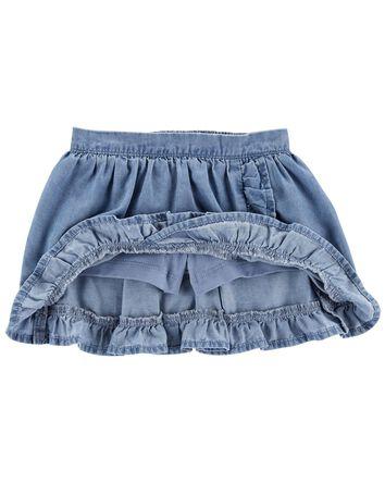 Jupe-short volantée en chambray