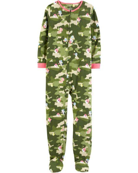 Pyjama 1 pièce en molleton camouflage et fleuri