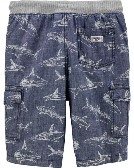Pull-On Shark Cargo Shorts
