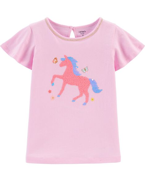 T-shirt en jersey avec cheval en paillettes réversibles
