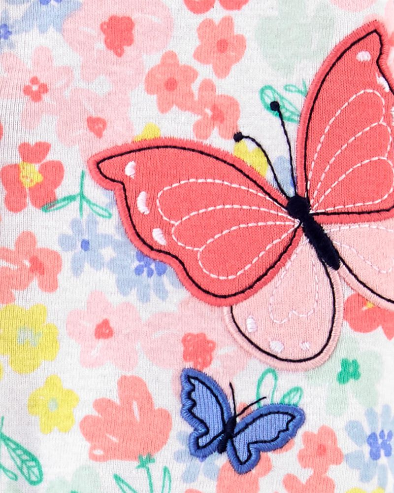 Grenouillère en coton pour dormir et jouer à boutons-pression et papillons, , hi-res