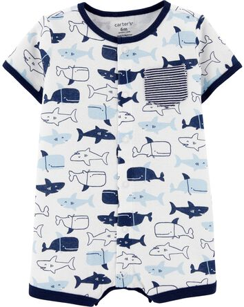 Sharks Snap-Up Cotton Romper