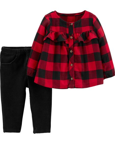 2-Piece Buffalo Check Top & Velour Pant Set