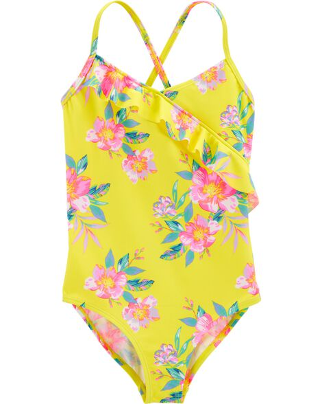Ruffle Floral One Piece Swimsuit