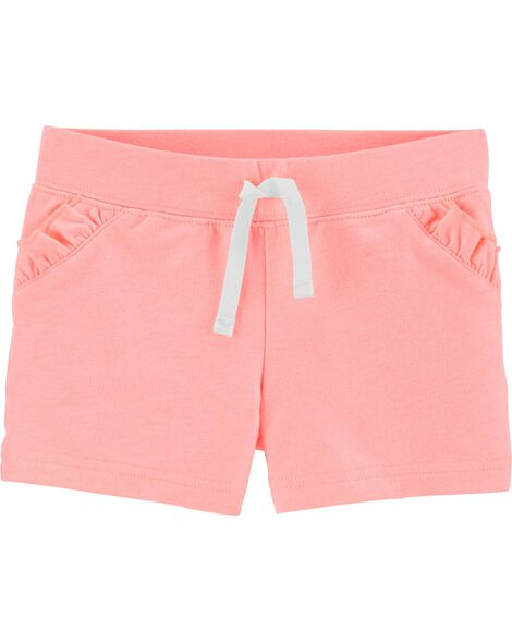 Neon Ruffle Pull-On French Terry Shorts