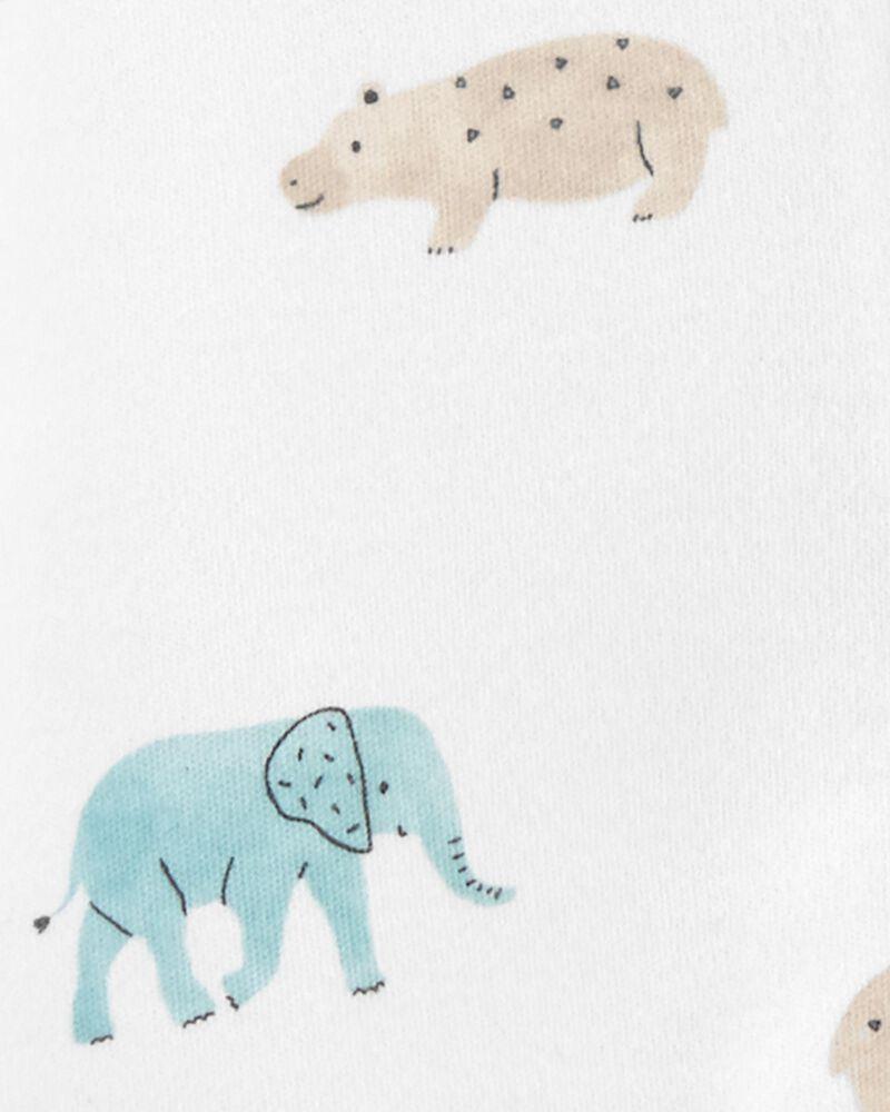 Grenouillère en coton pour dormir et jouer avec glissière 2 sens et animaux, , hi-res