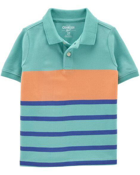 Striped Pique Polo