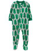 1-Piece Holiday Fleece Footie PJs, , hi-res