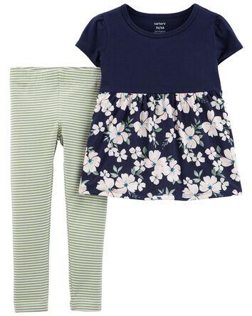2-Piece Floral Peplum Top & Legging...