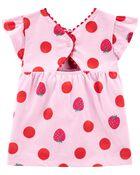 Ensemble 2 pièces haut à fraises et short en tricot de denim, , hi-res