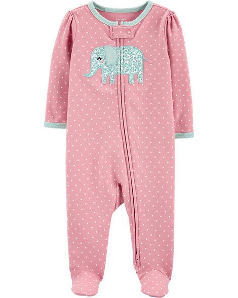 Elephant 2-Way Zip Cotton Sleep & Play