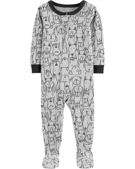 Pyjama 1 pièce avec pieds en coton ajusté à imprimé de chien
