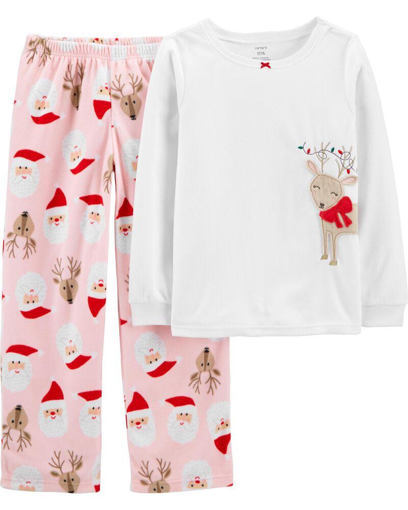 2-Piece Reindeer Holiday Fleece PJs, , hi-res