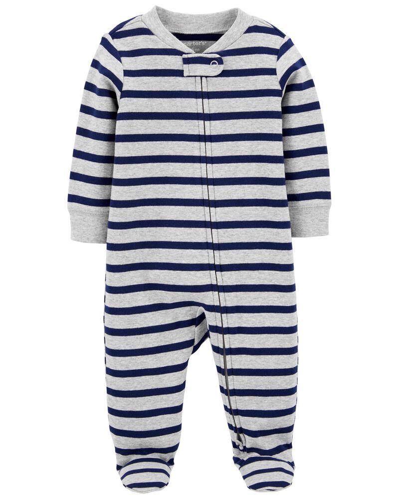 Striped 2-Way Zip Cotton Footed Sleep & Play, , hi-res