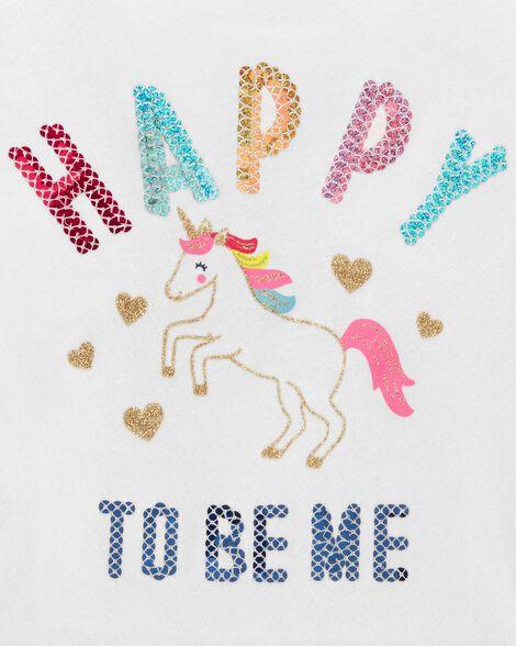 Haut Happy To Be Me avec licorne
