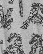 Pyjama 1 pièce à pieds en molleton Robot, , hi-res