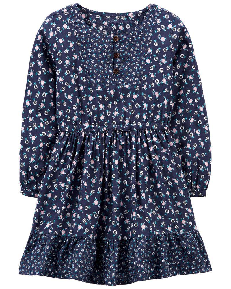 Mixed Print Poplin Dress, , hi-res