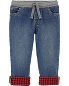 Flannel-Lined Denim Pants, , hi-res