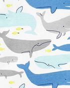 4-Piece Whales 100% Snug Fit Cotton PJs, , hi-res