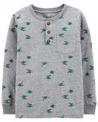 Holiday Print Jersey Henley, , hi-res