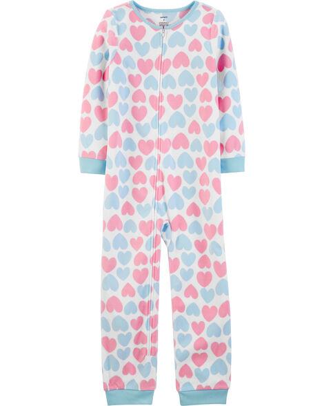 1-Piece Heart Fleece Footless PJs