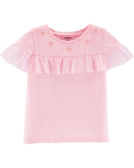 Tulle Trim Jersey Top