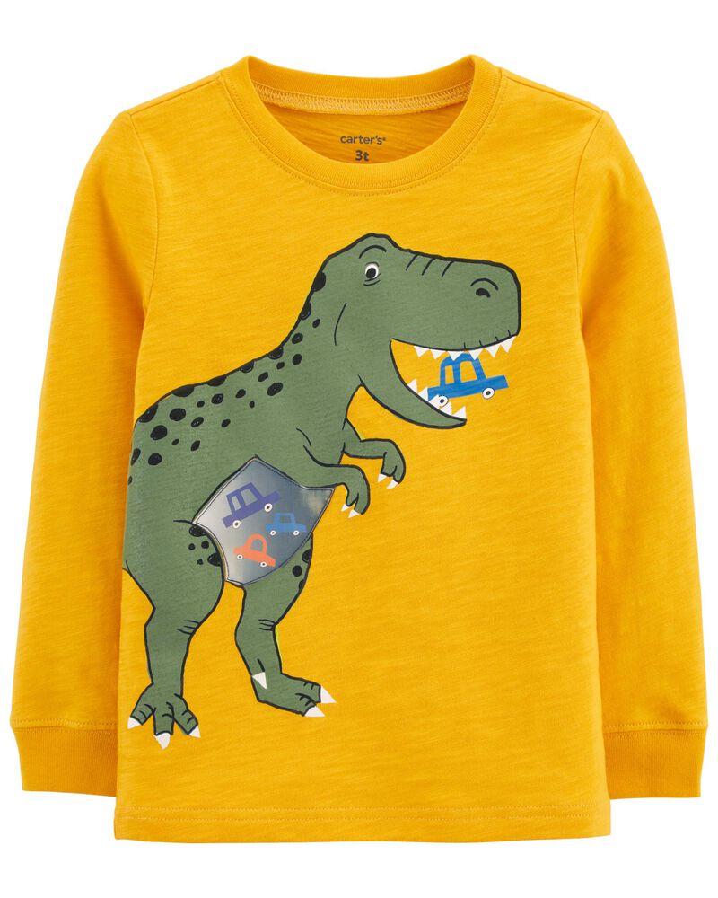 T-shirt en jersey flammé à dinosaure en action, , hi-res