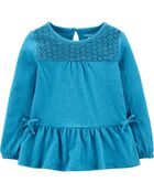 Crocheted Peplum Jersey Top, , hi-res