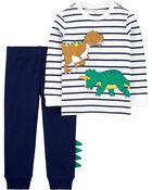 Ensemble 2 pièces t-shirt en jersey rayé à dinosaure et pantalon de jogging, , hi-res