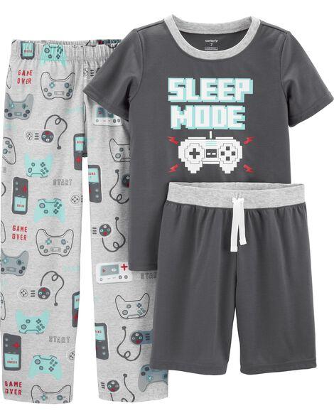 Pyjamas 3 pièces en polyester à motif jeu vidéo