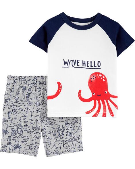 2-Piece Octopus Raglan Jersey Tee & French Terry Short Set