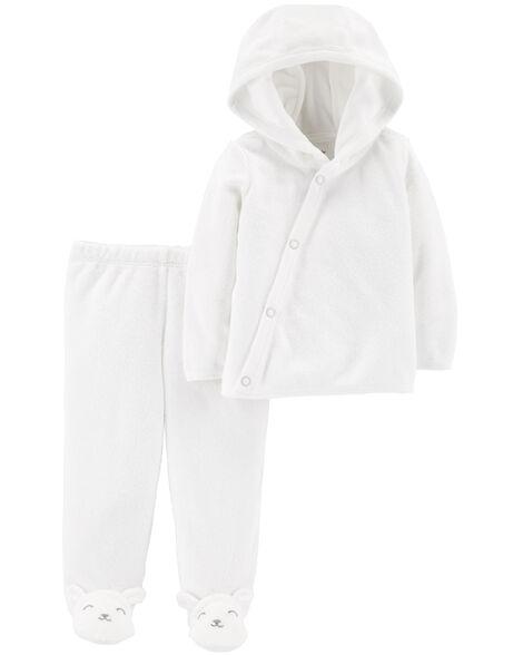 Ensemble 2 pièces haut à capuchon et pantalon avec pieds en tissu bouclé