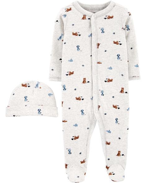 2-Piece Cap & Snap-Up Cotton Sleep & Play Set