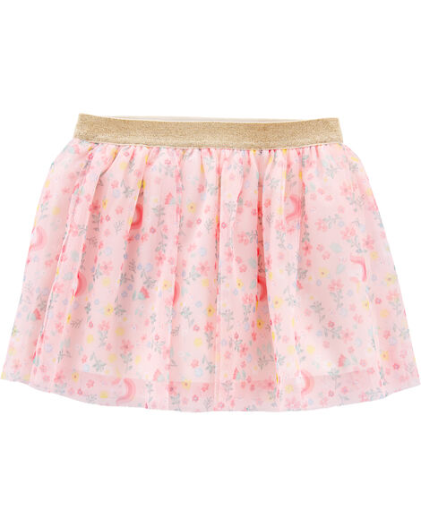 Glitter Floral Unicorn Tutu Skirt