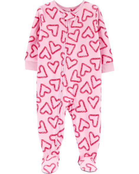 1-Piece Heart Fleece PJs
