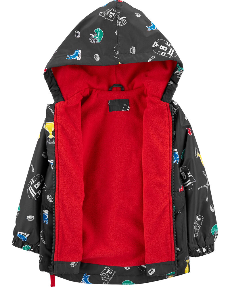 Hockey Print Fleece-Lined Rain Jacket, , hi-res
