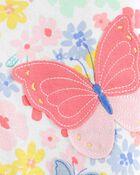 Pyjama barboteuse 1 pièce en coton ajusté à motif papillon, , hi-res