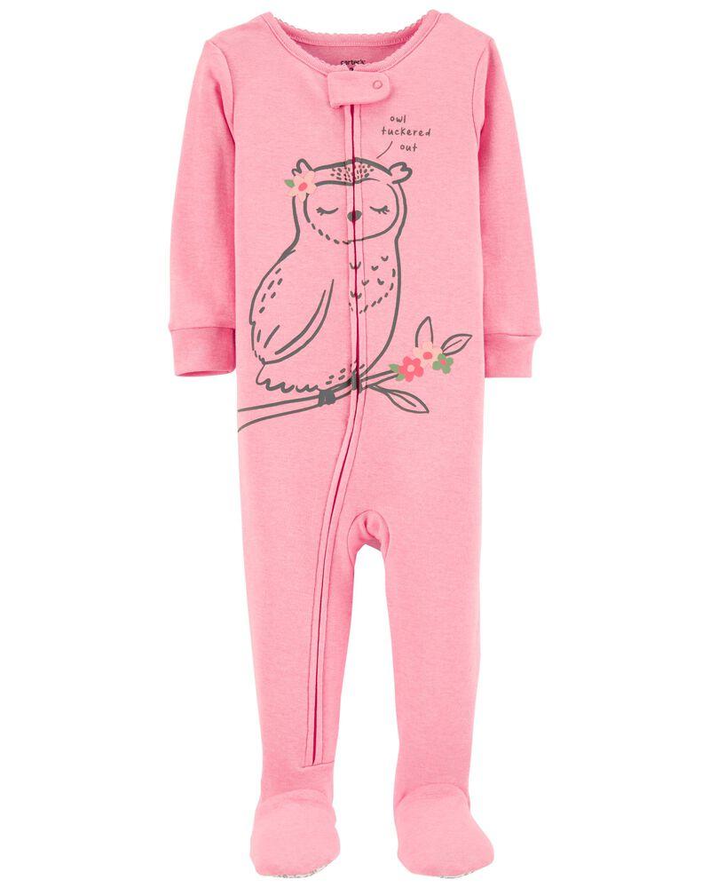 Pyjama 1 pièce à pieds en coton ajusté motif hibou, , hi-res