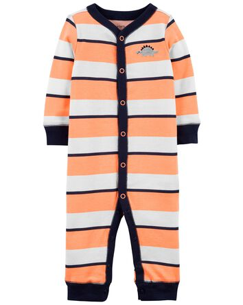 Striped Snap-Up Cotton Footless Sle...