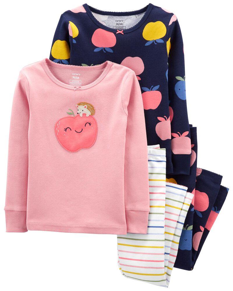 Pyjama 4 pièces en coton ajusté à pommes, , hi-res