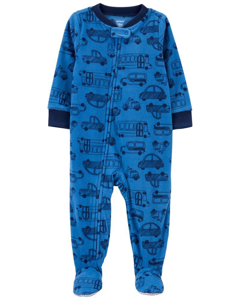 Pyjama 1 pièce en molleton avec pieds à voitures, , hi-res