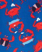 Pyjama 4 pièces en coton ajusté motif crabe, , hi-res