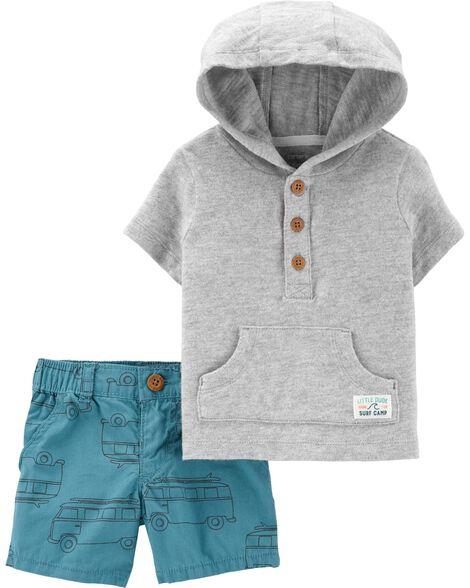 2-Piece Slub Jersey Pullover & Car Short Set