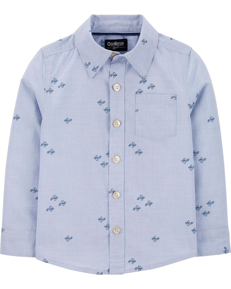 Airplane Button-Front Shirt, , hi-res