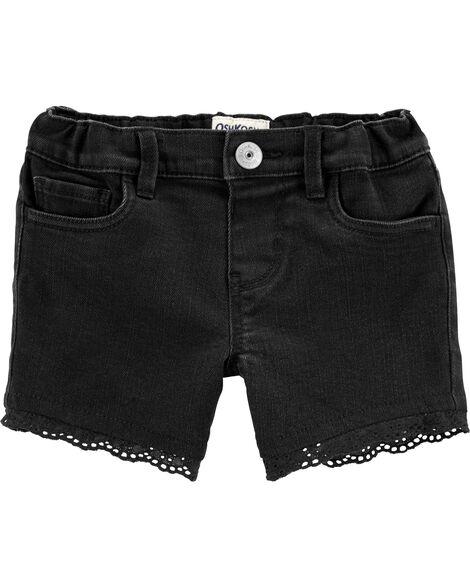 Short en denim extensible noir à bordure en tissu ajouré