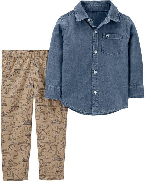 Ensemble 2 pièces chemise boutonnée en chambray et pantalon à camion de construction