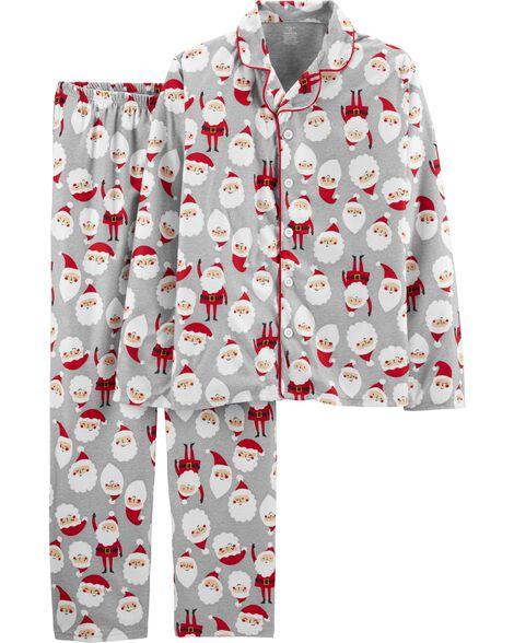 Pyjama 2 pièces en molleton à motif de Père Noël pour adultes