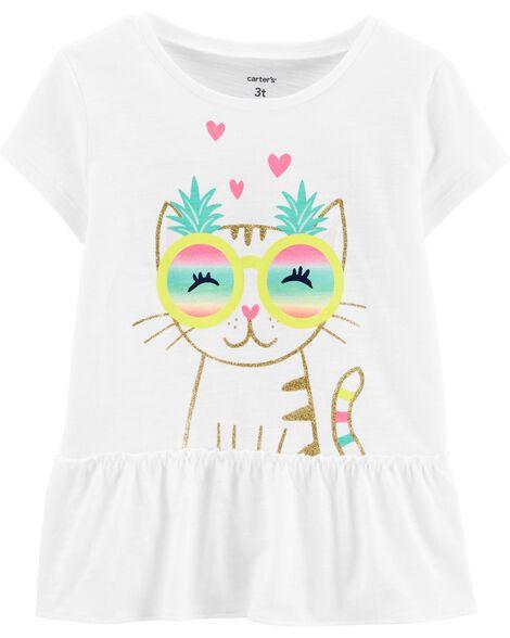 T-shirt volanté en jersey flammé avec chat